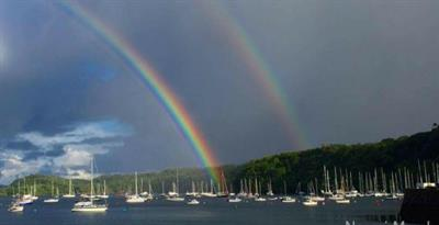 rainbow over the boats in Tobermory